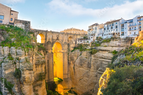 Ronda, Spain old town summer cityscape on the Tajo Gorge. Canvas Print