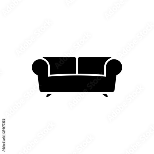 Black Sofa icon isolated on white background. Vector Illustration Poster Mural XXL