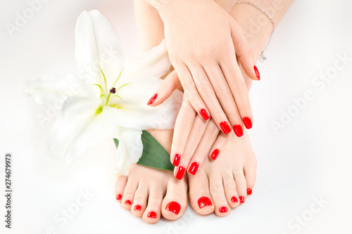 Manicure and pedicure in spa salon. Skincare concept. Healthy female hands and legs with beautiful nails