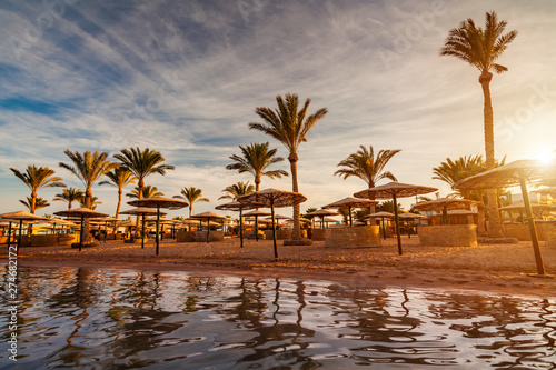 Fototapeten See sonnenuntergang Beautiful romantic sunset over a sandy beach and palm trees. Egypt. Hurghada.