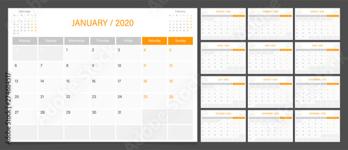 Obraz 2020 calendar planner design template vector week start Monday. - fototapety do salonu