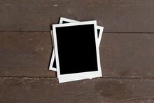 Photo Frame On Wood Table Background. Vintage Concept.