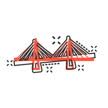 Bridge Sign Icon In Comic Styl...