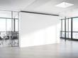Leinwandbild Motiv Blank white wall in concrete office with large windows Mockup 3D rendering