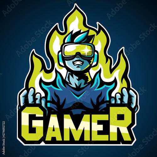Fotomural Gamer, Mascot logo, Sticker design, Vector illustration.
