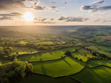 Dorset Countryside AONB Sunset Aerial