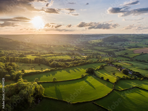 Dorset Countryside AONB sunset aerial - 274694128