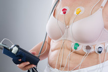 Woman With Holter Monitor Devi...
