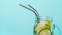 Cold Drink In Mason Jar With M...