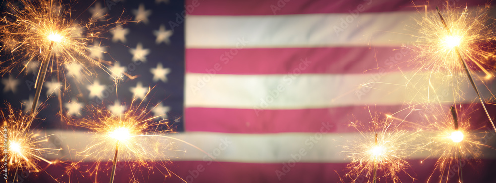 Fototapety, obrazy: Vintage Celebration With Sparklers And Defocused American Flag - 4th Of July