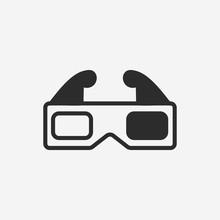 3d Movie Glasses Icon. New Tre...