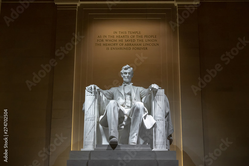 Abraham Lincoln Memorial in Washington DC, United States, history and culture fo Tableau sur Toile