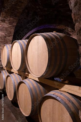 Fotomural wine barrels in the cellar, Szekszard, Hungary