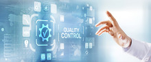 Quality Control Assurance Standard Iso Business Technology Industrial Concept. Businessman Pressing Button.