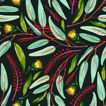 Gouache Seamless Pattern With Green Leaves, Red Floral Branches And Yellow Flower On A Dark Background