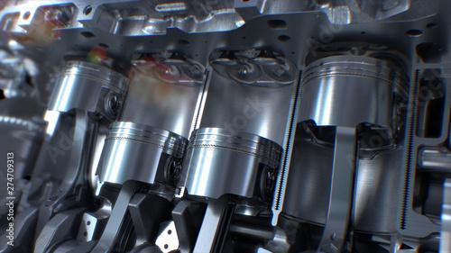 Photo Car Engine inside, Engine pistons, valves and crankshaft, Piston ignition time