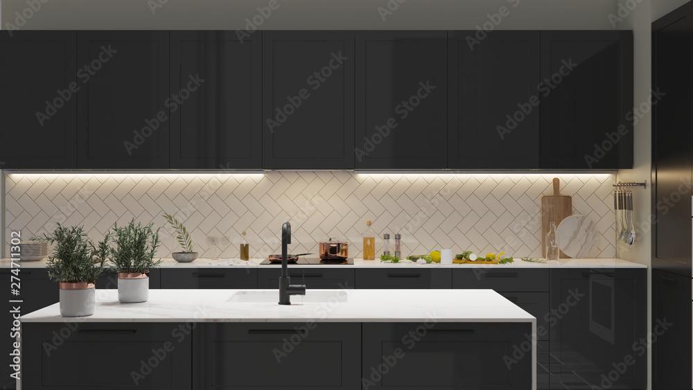 Fototapety, obrazy: Modern Kitchen interior with light strip