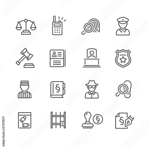 Law and judgement line icons Tapéta, Fotótapéta