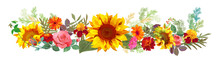 Horizontal Autumn's Border: Orange, Yellow Sunflowers, Pink Roses, Marigold (tagetes), Gerbera Daisy Flowers, Green Twigs On White Background. Illustration In Watercolor Style, Panoramic View, Vector