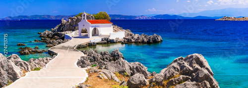 Authentic traditional Greek islands- unspoiled Chios, little church Agios Isidor Canvas Print