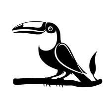 Black Toucan Bird Sign On White Background.