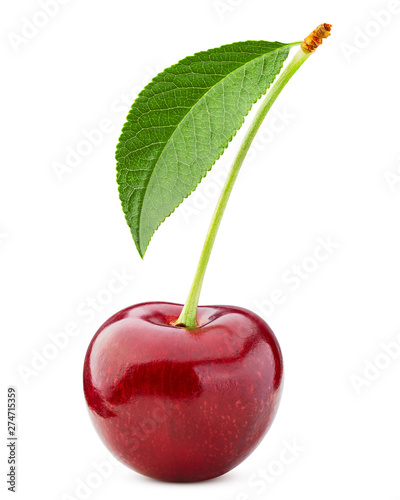 Fotomural cherry isolated on white background, full depth of field, clipping path