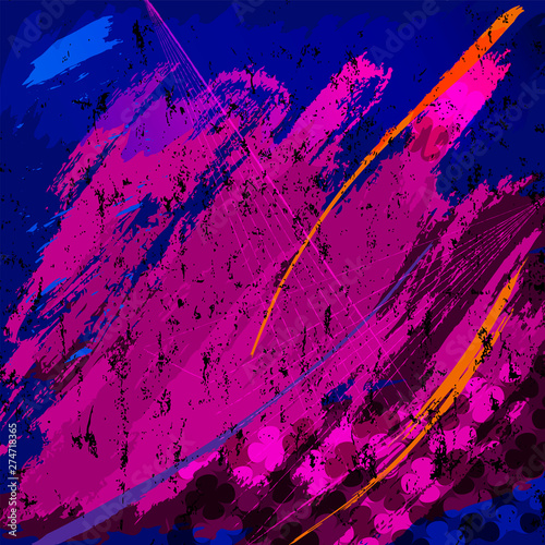 abstract grunge background composition, with paint strokes, splashes and geometric lines