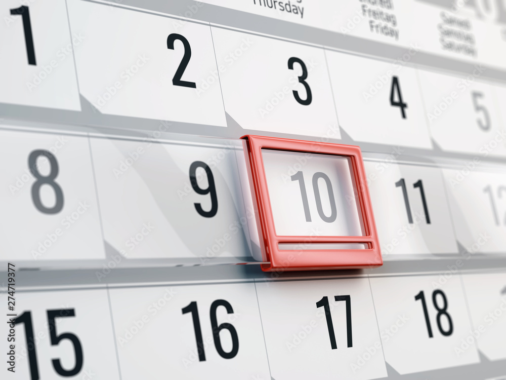 Fototapety, obrazy: Calendar with moving red date pointer - Concept of calendar, reminder, organizing - 3d illustration of calendar
