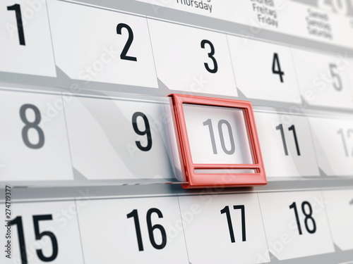 Calendar with moving red date pointer - Concept of calendar, reminder, organizing - 3d illustration of calendar