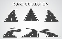 Vector Roads Collection. Curves And Highways Separated From The Background For Infographics.