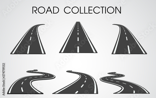 Obraz Vector roads collection. curves and highways separated from the background for infographics. - fototapety do salonu