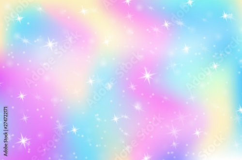 Fantasy Rainbow Hologram Background The world of princess In the rainbow sky with sparkling stars.