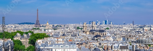 Paris, typical roofs, aerial view with the Eiffel Tower and the Saint-Sulpice church in background