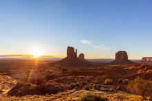 Sunrise At Monument Valley Tribal Park In The Arizona-Utah Border, USA