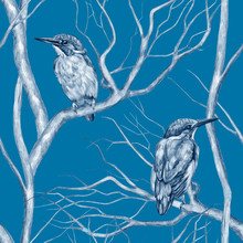 Vintage Seamless Pattern. Kingfisher Birds Sitting On Tree Branches. Pencil Drawing On A Blue Background. Beautiful Gentle Background. Sketch Style. For A Postcards, Wrapping Paper, Invitations, Etc.