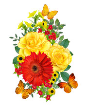 Flower Composition. A Bouquet Of Red Gerberas, Rose, Bright Little Flowers, Green Leaves, Beautiful Orange Butterflies. Isolated On White Background.