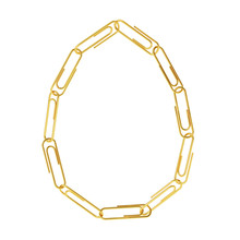 Egg In The Form Of A Chain Of Paper Clips. Isolated On White Background, Clipping Path Included.