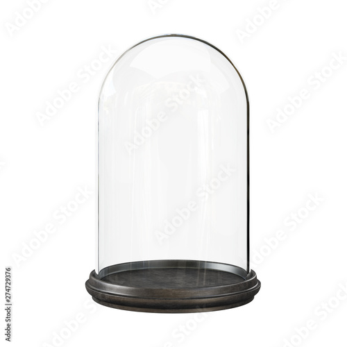 Leinwand Poster Empty glass dome on а white background. Clipping path included.
