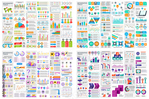 Fototapeta Set of infographic elements data visualization vector design template. Can be used for steps, options, business process, workflow, diagram, flowchart concept, timeline, marketing icons, info graphics. obraz