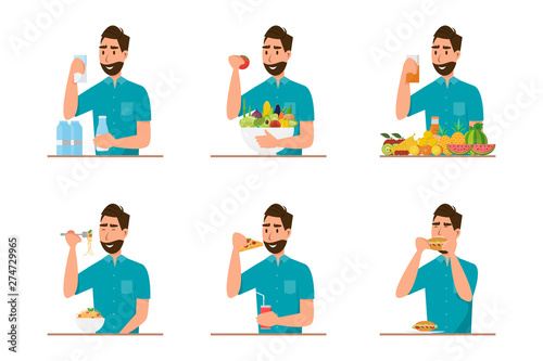 Fototapeta people eating healthy food and fast food in different character obraz