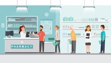 Pharmacy With Pharmacist And Client In Counter