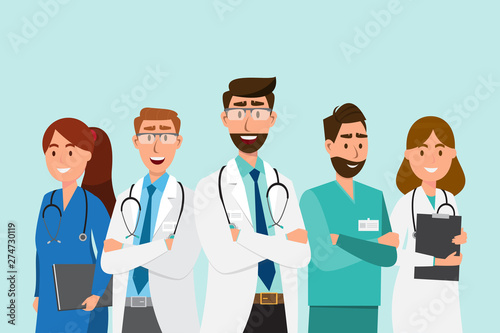Fotografiet Set of doctor cartoon characters. Medical staff team concept