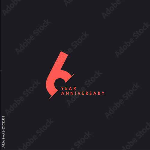 6 Years Anniversary Vector Template Design Illustration Poster Mural XXL