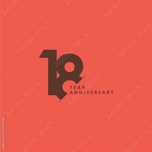 Photo 18 Years Anniversary Celebration Vector Template Design Illustration
