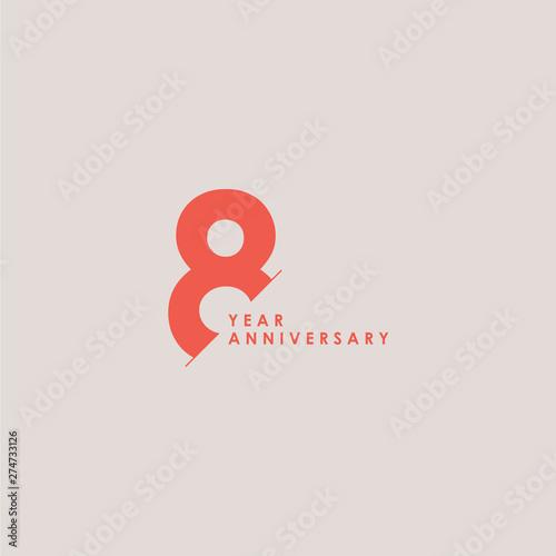 Fotografía  8 Years Anniversary Celebration Vector Template Design Illustration