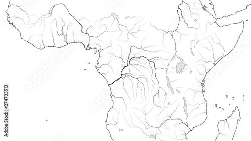 Fotografía  World Map of EQUATORIAL AFRICA REGION: Central Africa, Congo, Zaïre, Nigeria, Kenya, Tanzania, Kilimanjaro, Lake Tanganyika, Lake Malawi, Sudan, Somalia