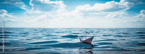 Reise & Papierschiff XXL Panorama Fotobehang