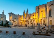 Avignon. Provence. The Central Facade Of The Papal Palace At Dawn.