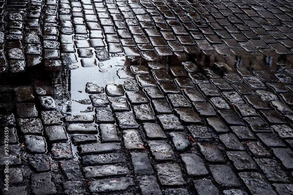 Fototapety, obrazy: view of Grungy cobblestone street with puddles, New York City