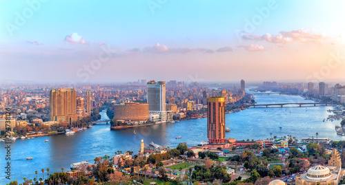 Foto auf Gartenposter Flieder Cairo downtown, view of the Nile, the skyscrappers and the bridges, Egypt